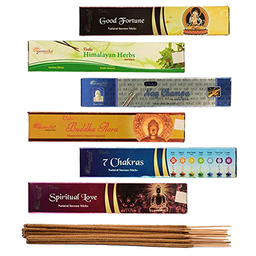 微生物喉頭出くわすaromatika 6?Assorted Masala Incense Sticks Vedic Nag Champa、7チャクラ、ブッダFlora、Himalayanハーブ、Good Fortune、Spiritual Love WithメタルSun Incense Stick Holder