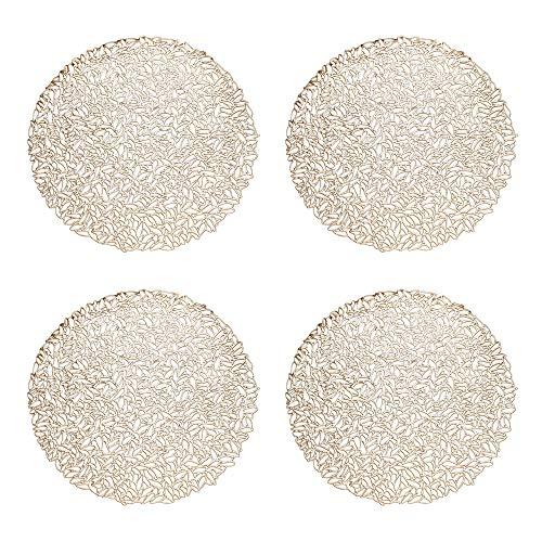 GlobalDream Dessous Assiette, 4 pièces Napperons Set de Table Tapis de Table pour Table Salle à Manger Cuisine (Doré, 38cm)