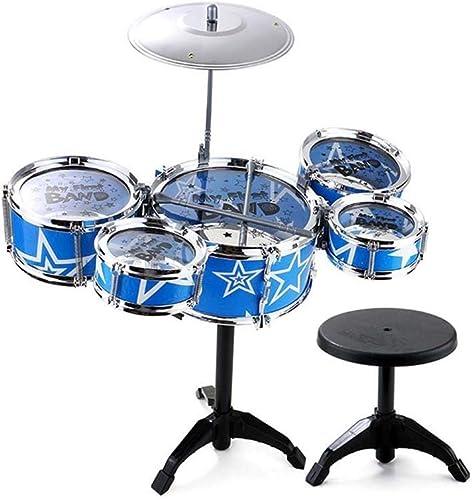 LINGLING-Trommel Kinder Drum Percussion Spielzeug Geschenk Kunststoff Girl Boy Lernen Percussion (Farbe   Blau, Größe   5 Drums)