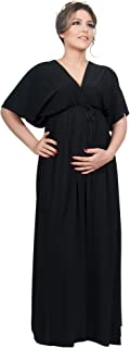 Womens Long Maternity Kimono Sleeve V-Neck Summer Flowy Gown Maxi Dress