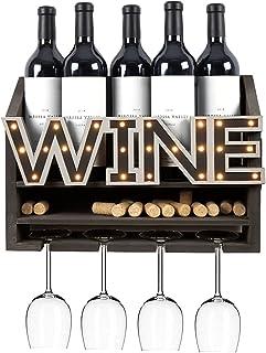 Shikha LED Wooden Wall Mounted Wine Rack and Glass Holder –Rustic Wine Bottle & Glass Holder & Wine Cork Storage Modern Ho...