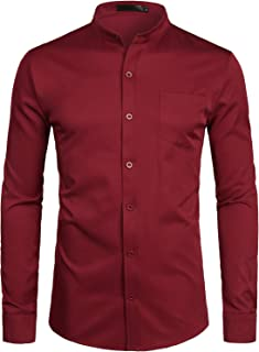 Men's Banded Collar Slim Fit Long Sleeve Casual Button Down Dress Shirts with Pocket