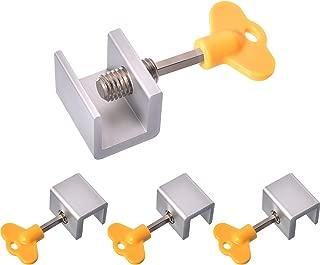 Maxdot 4 Sets Sliding Window Locks Stop Aluminum Alloy Door Frame Security Lock with Keys (4 Sets)