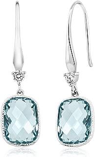 Sterling Silver Simulated Aquamarine Dangle Earrings (4.60 cttw, 13X9MM Cushion Checkerboard Cut)