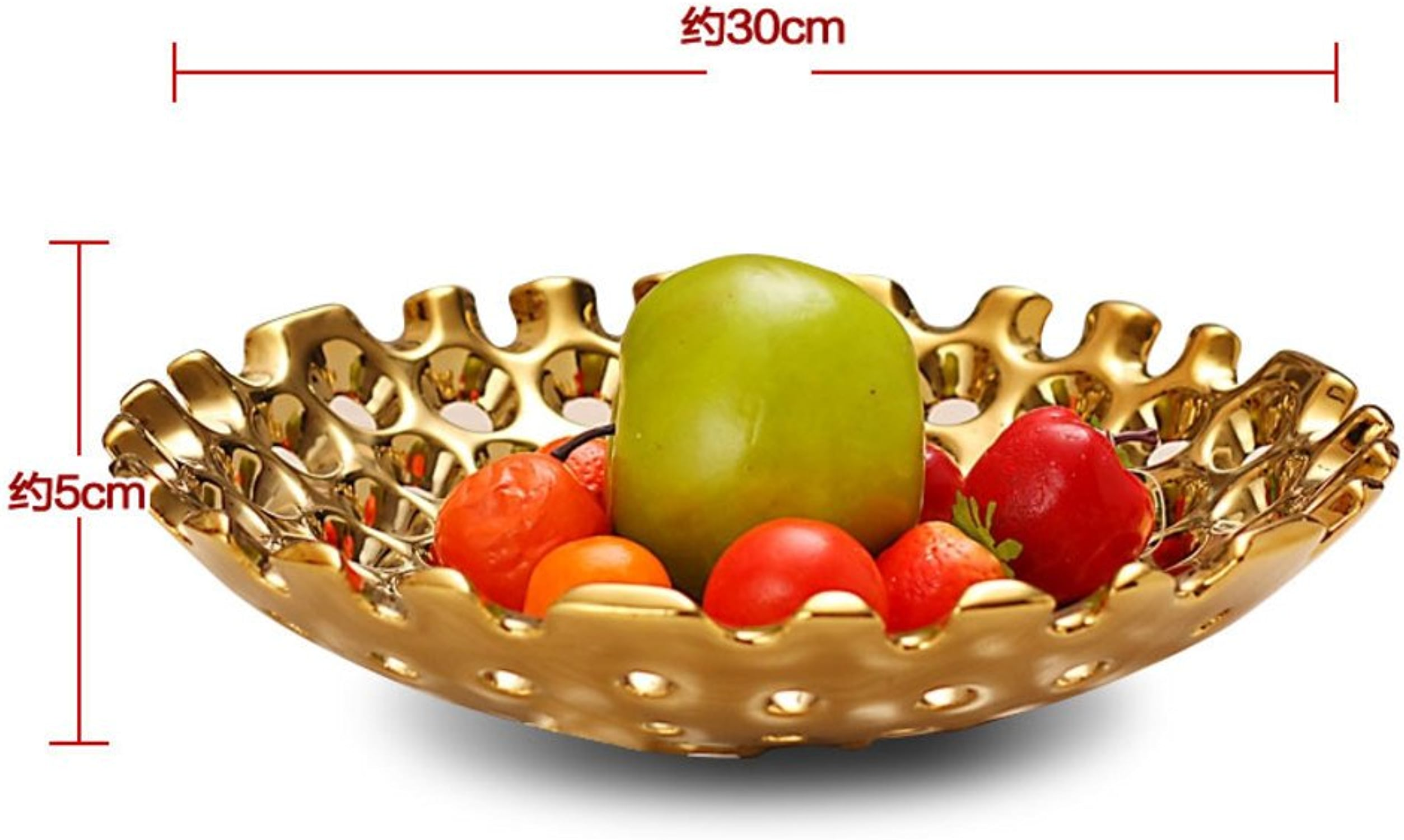 JYXJJKK Plateau de Fruit,Assiette de Fruits séchée Snack Plaque-d'or