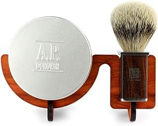 A.P. Donovan - Silberdachs Rasierpinsel - handgefertigt mit Mahagoni-Griff, inkl. 100g pflanzliche Rasierseife  Ständer - 3in1 Geschenk-Set