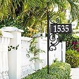 Whitehall Products 11245 Nite Bright Ironwork Reflective Address Post Sign, Black/White...