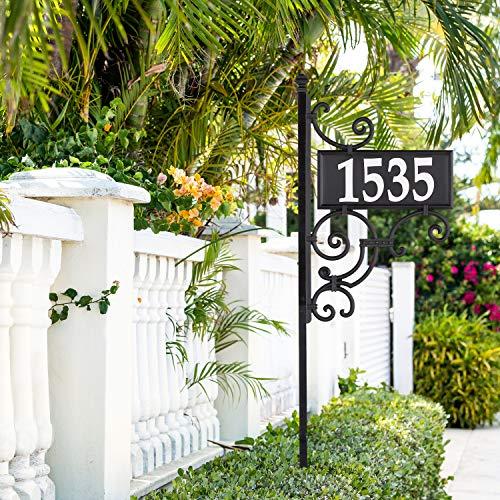 Whitehall Products 11245 Nite Bright Ironwork Reflective Address Post Sign, Black/White