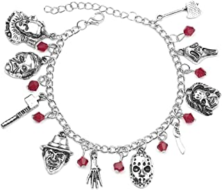 Byondever Freddy Krueger Jason Bracelet American Horror Story Classic Horror MoviesCospaly Charm BraceletFans Jewelry for Men Women Girls