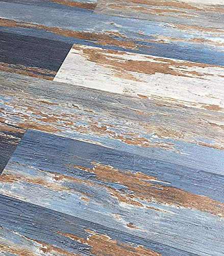 Colors Vintage Painted Aged Old Blue Sea Wood Restored Style Dry Back Glue Down Textured Luxury Vinyl Floor and Wall Plank 6 in. x 36 in. (30 sq. ft. / case)