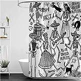 Lovedomi - Tenda da doccia con motivo 'Danzatore morto' e icona di donna e uomo, tenda da doccia impermeabile in tessuto di poliestere, 182,9 x 182,9 cm, set di accessori da bagno