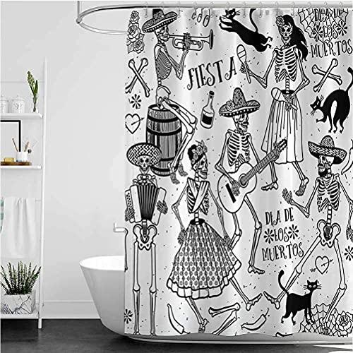 lovedomi Cortina de ducha con diseño de esqueleto de bailarín muerto con diseño de icono de mujer y hombre, cortina de ducha impermeable de tela de poliéster 183 x 183 cm