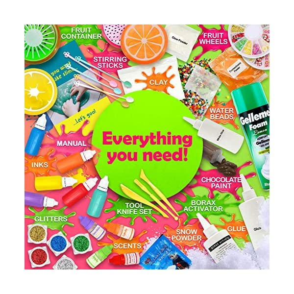 Original Stationery Ultimate Slime Kit: DIY Slime Making Kit with Slime Add Ins Stuff for Unicorn, Glitter, Cloud, Butter, Floam, More - Deluxe Slime Kits Gift for Girls and Boys (Green, 53pcs) 7