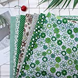 7 piezas de 50 * 50 cm tela de Algodón y lino utilizada para la decoración de costura artesanal telas patchwork DIY. (Verde)
