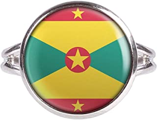 Ring with Cabochon Picture Grenada St. George's Flag Silver Different Sizes
