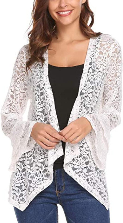 Shiyifa Women's Bell Sleeve Cardigan Open Front Lace Crochet Bolero Shrug Tops