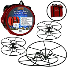 """Camerons Products Christmas Light 12"""" Storage Reels (3pk) - Heavy Duty Metal Construction with X-Mas Carrying Bag Case"""