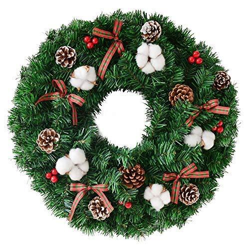 NLRHH Girlande Weihnachten auf Kranz aus PVC Handgemachte Rattan Kreis Feiertags-Fenster-Requisiten Pastoralen Stil 40cm Grüne DIY (Größe: 40cm) Peng