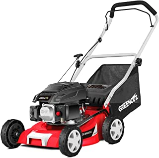 GREENCUT GLM680X - Cortacésped de gasolina 139cc y 5cv con arranque manual Easy-start y ancho de corte de 400mm (o 16