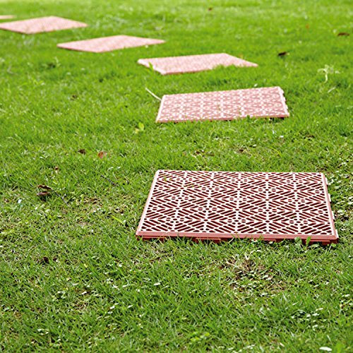 Parkland Plastic Garden Path Floor Tiles Non Slip, Walkway or Patio Tiles Lawn Paving Grid Outdoor 30cm Square (Pack of 30, Terracotta)