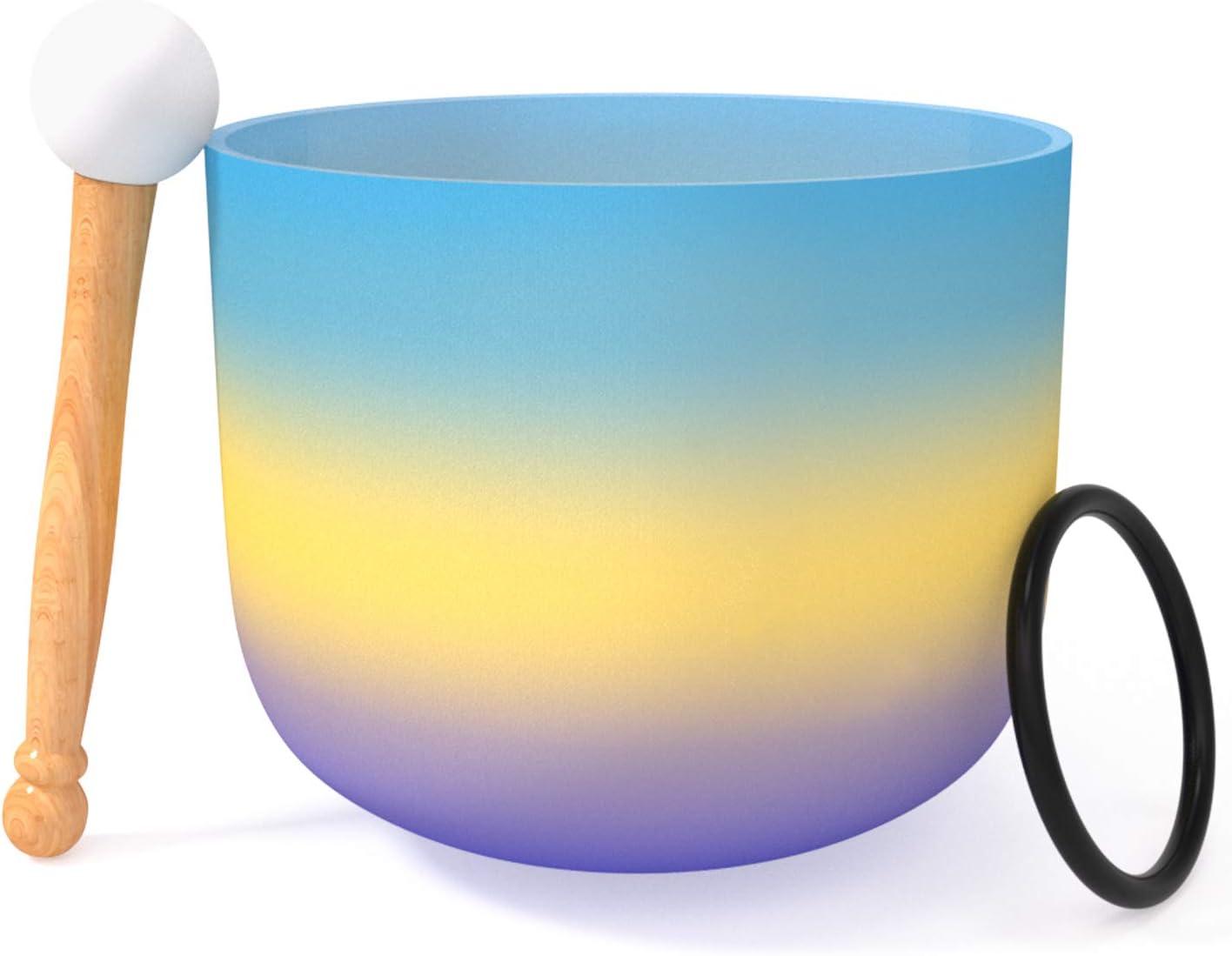 440 Hz G Note 20 CM 3er Ojo Cristal de Cuarzo Cuencos Chakra Arcoiris Azul Cristal Esmerilado Cristal Juego de Cuenco Para Cantar Junta Tórica y Mazo de Sanación de Sonido y Meditación de Yoga