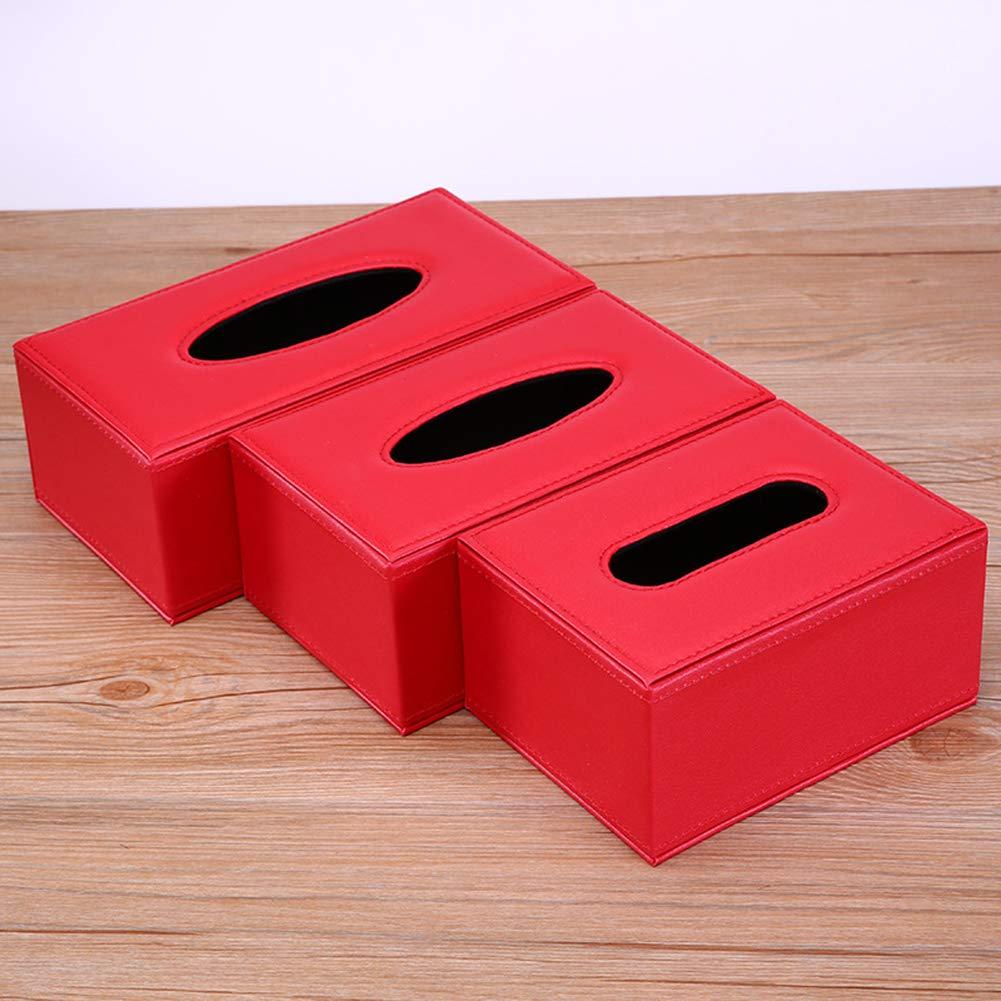 Yeshai3369 Caja De Almacenamiento De Servilletas De Papel De Seda Sintética Rectangular Antihumedad para El Coche De La Oficina En Casa Rojo Medio: Amazon.es: Hogar
