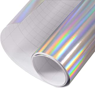 Car Vinyl Wrap Glossy Holographic Silver Self Adhesive Vehicle Wrap Vinyl Stretchsble PVC DIY Decals 12