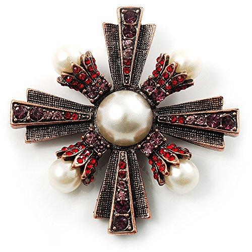 Avalaya Precious Heirloom Imitation Pearl Cross Brooch (Copper Tone)