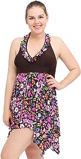 8ecc16cd6c1 AGX Plus Size Floral V-Neck Ruffle Scrappy 2 Piece Women Swimsuit