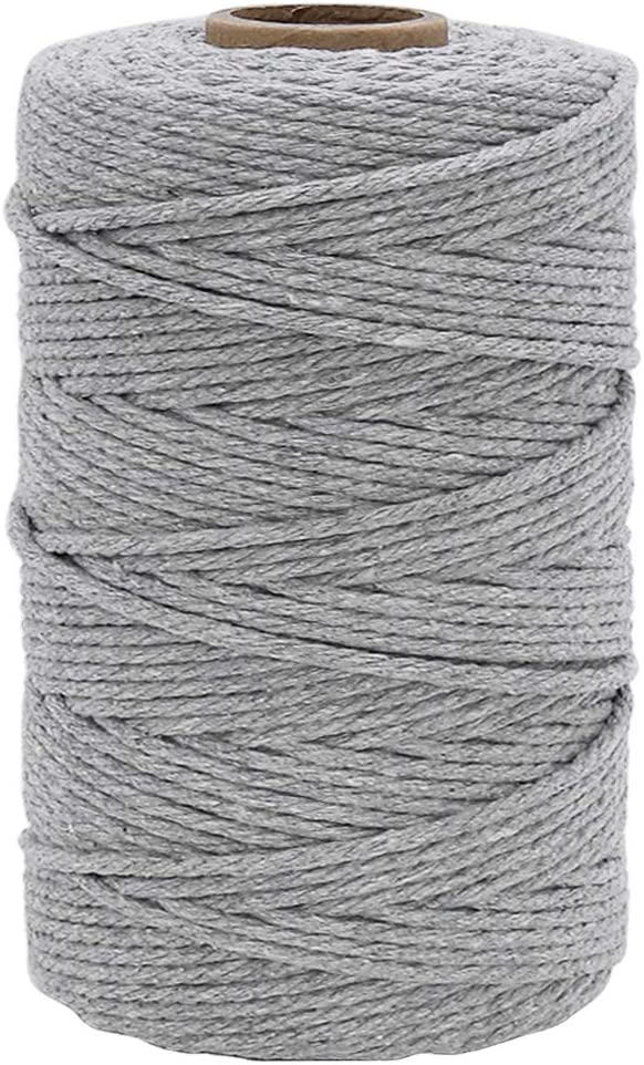 328 Feet Gray 3mm Macrame Cord Strong Cotton Macrame String for DIY Crafts Wall Hanging Plant Hangers