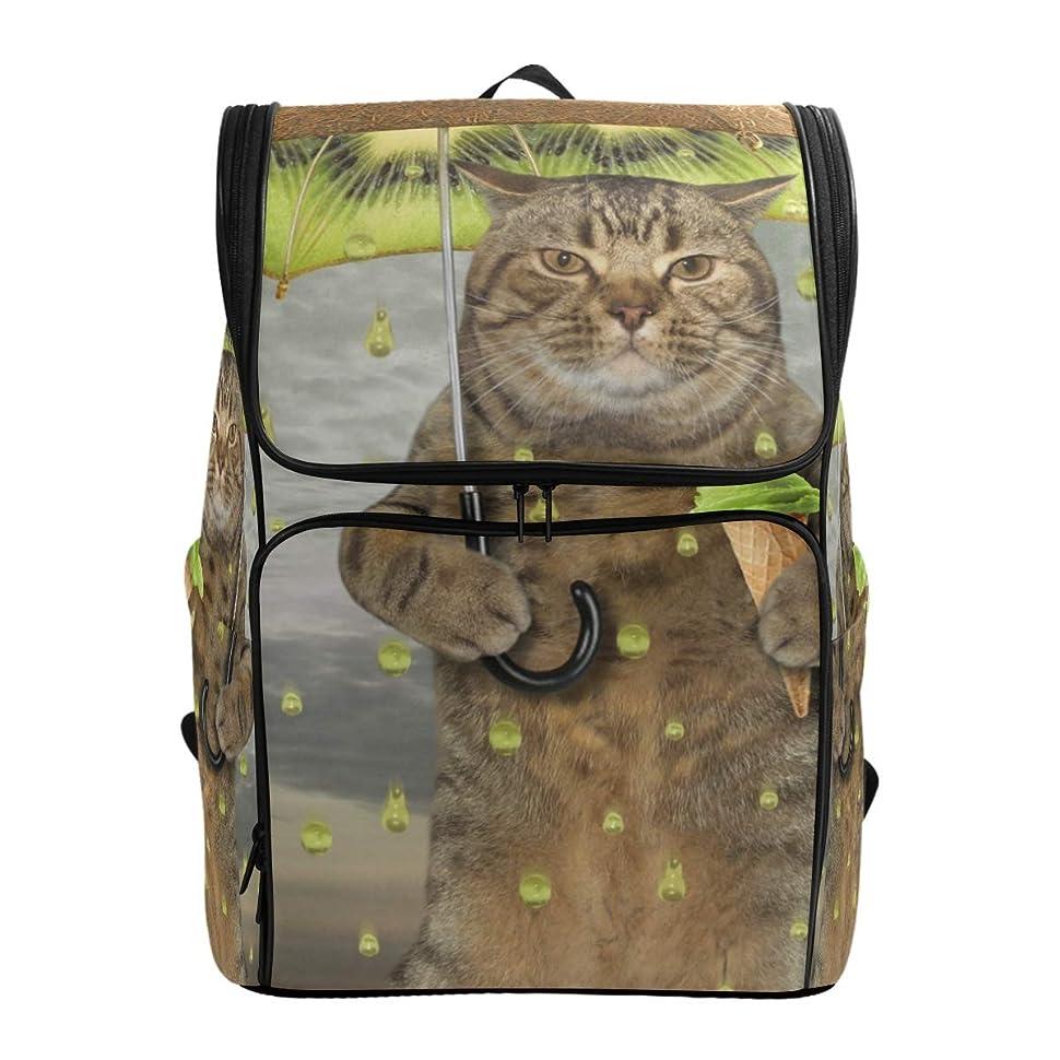 ルーフ製造読み書きのできないVAMIX リュックサック バッグ 男女兼用 メンズ レディース 通勤 通学 大容量 ファッション おしゃれ 開学 多機能 プレゼント ギフト 猫柄 面白い キウイ 傘をさす猫 アイスクリーム