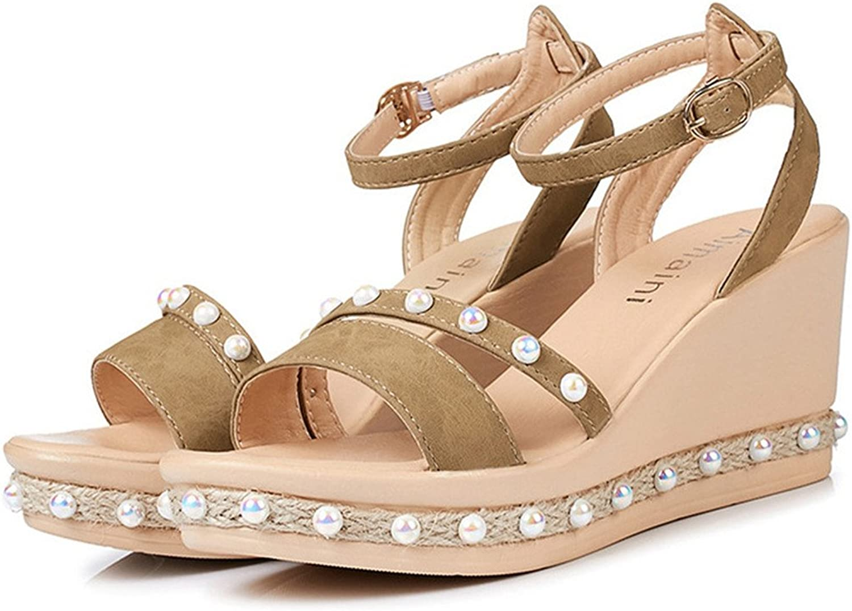 Women's Wedges Sandal Ankle Strap Buckle Comfortable High-Heels Wide Slope Platform Open Toe shoes