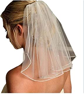 RLYBDL One Layer Short Wedding Veils With Comb Soft Tulle Bridal Veils With Comb Crystal Wedding Accessories (Color : Ivory)