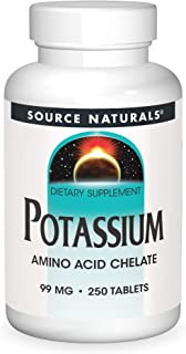 Source Naturals Potassium - Amino Acid Chelate Supports Nerve Function, Muscle Strength & Glycogen Formation - 250 Tablets