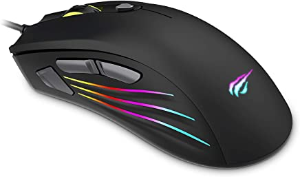 HAVIT Ratón Gaming , 7 botones mouse gaming programables Iluminación RGB [800-1600-2400-4800-7200 DPI,] para Windows7 / 8/10 / XP / Vista /Mac (MS762, Negro)
