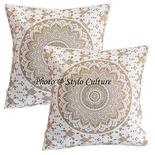 Stylo Culture Cojines Decorativos Indios Cubre Oro Impreso Floral Cojín Fundas Cojín Algodón Cuadrado Mandala Ombre 40x40 cm Cojines Cojines (Juego de 2 Piezas)