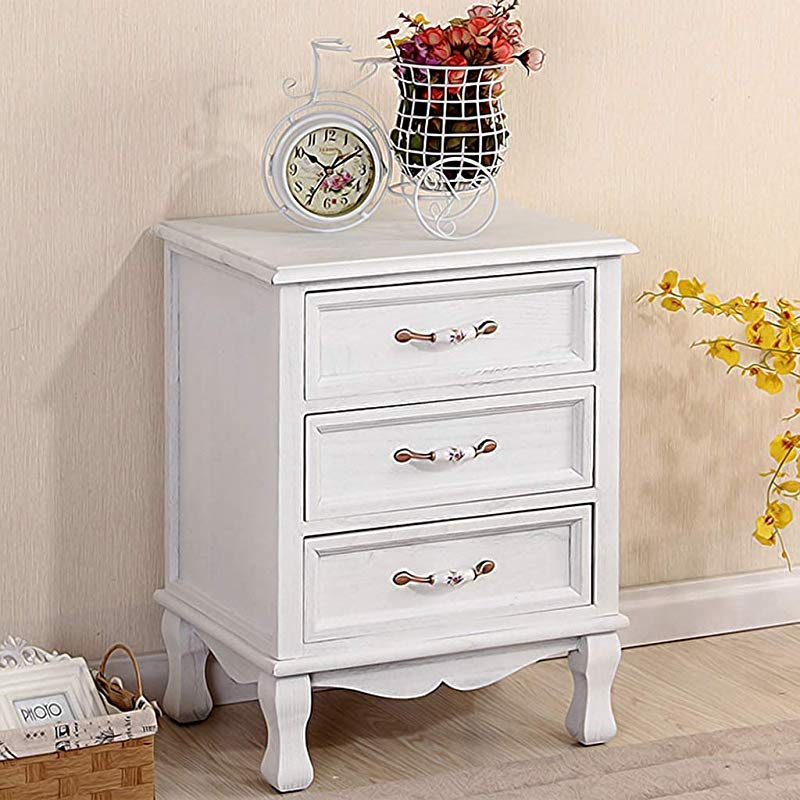 HappyL Solid Wood Retro Bedside Table Bedroom Bedside Storage Cabinet Drawer Type Living Room Locker Bedside Table Color White Size 50 65 38cm