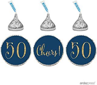 Andaz Press Gold Glitter Print Chocolate Drop Labels Stickers, Cheers 50, Happy 50th Birthday, Anniversary, Reunion, Navy Blue, 216-Pack, Not Real Glitter, for Hershey's Kisses Party Favors