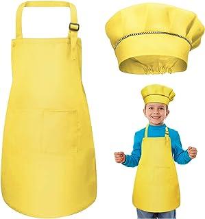 MSemis Tablier Enfant et Chapeau de Chef Tablier de Cuisine Boulangerie Toque de Chef Cuisinier Bonnet Tablier Peinture de Jardin 2-12 Ans