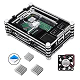 Smraza Case for Raspberry Pi 3 B+ Case, Raspberry Pi 3 Model B Case with Cooling Fan, 3PCS Heatsinks for Raspberry Pi 3 Model B (RPI Board Not Included) - Black and Clear