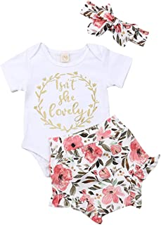 PJWZE Newborn Infant Baby Girl Clothes Isnt She Lovely Outfit White Romper Bodysuit Top Ruffle Floral Shorts Set with Headband 3Pcs Clothing