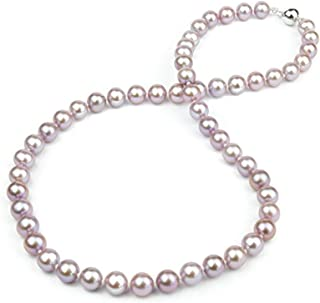 HinsonGayle AAA Lavender Round Freshwater Cultured Pearl Necklace (18 inch)