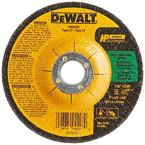 DEWALT DW4428 4-Inch by 1/8-Inch by 5/8-Inch Concrete/Masonry Cutting Wheel , Black