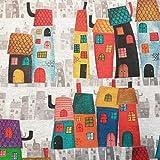 Stoff Meterware Baumwolle Häuser Haus bunt Casitas