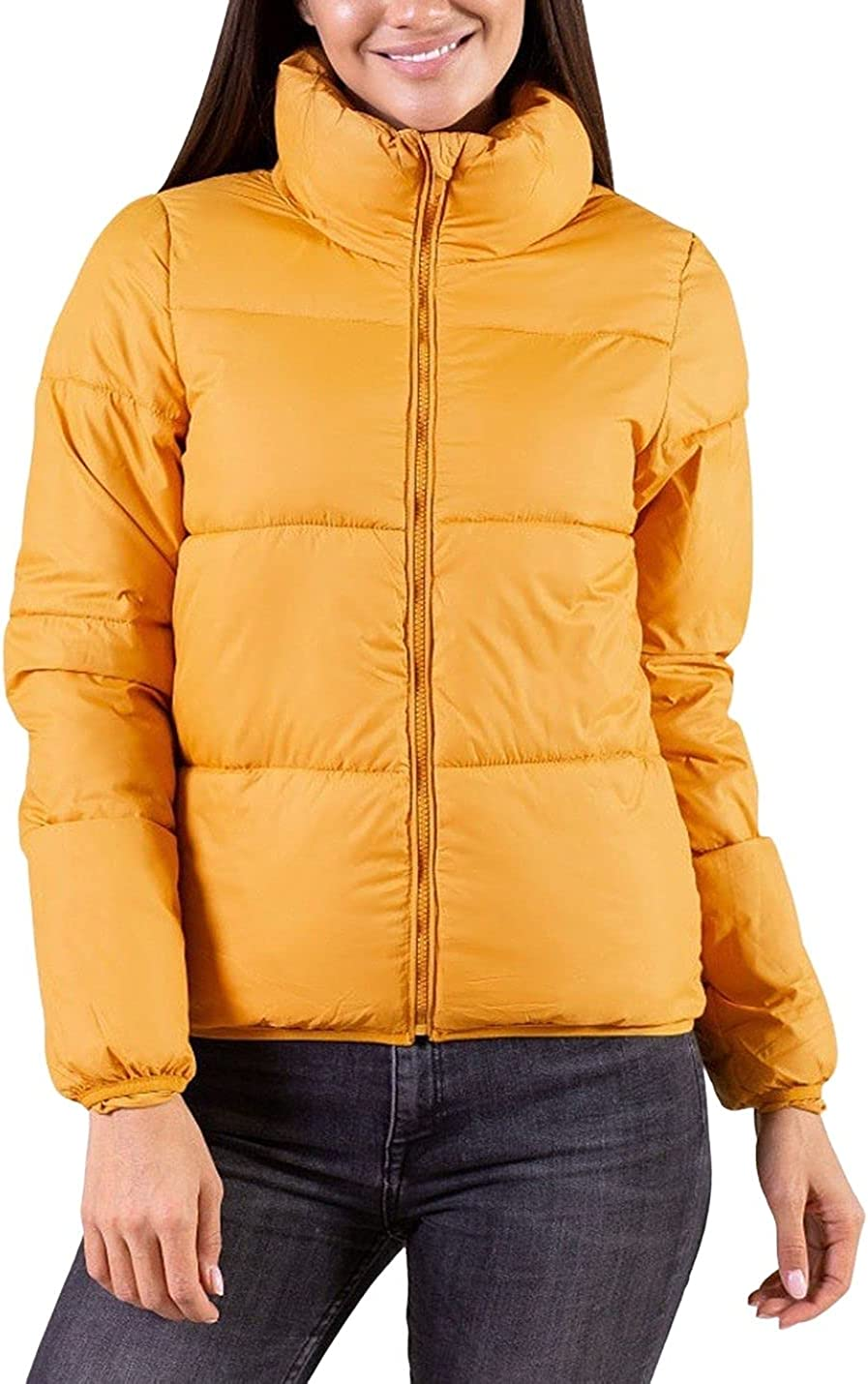 FindThy Women's Winter Padded Down Jacket Cropped Full Zip Up Stand Collar Puffer Coat