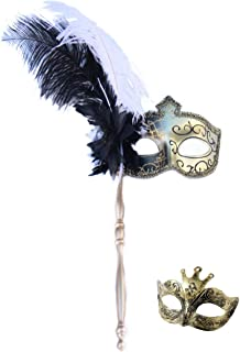 VenetianMasquerade Carnival Mask Women's Sexy Glitter Halloween Ball Mask Christmas Costume Party Mask Feather with Gift