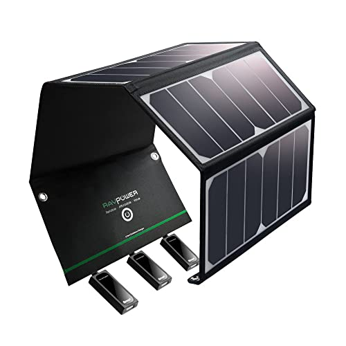 RAVPower UK RP-PC005(B) Solar Charger 24W Solar Panel with Triple USB Ports Waterproof Foldable for Smartphones Tablets and Camping Travel