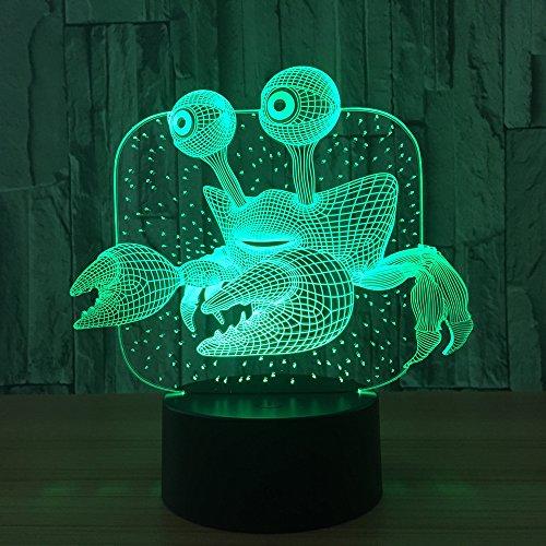 jiushixw 3D driedimensionale kleurverandering nachtlicht met afstandsbediening tafellamp gouden crème cartoon luie fitting veranderen