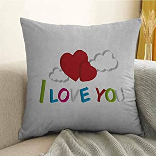I Love You Silky Pillowcase 3D Letters Clouds and Hearts Romantic Message Happy Feelings Super Soft and Luxurious Pillowcase W24 x L24 Inch Lime Green Blue Magenta Ruby