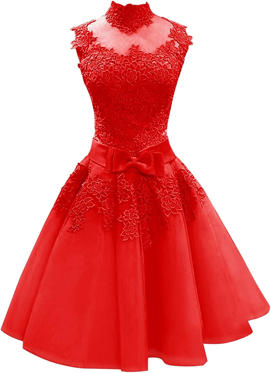 SUNFURA Women's Lace High Neck Short Prom Homecoming Dress with Ribbon Bow